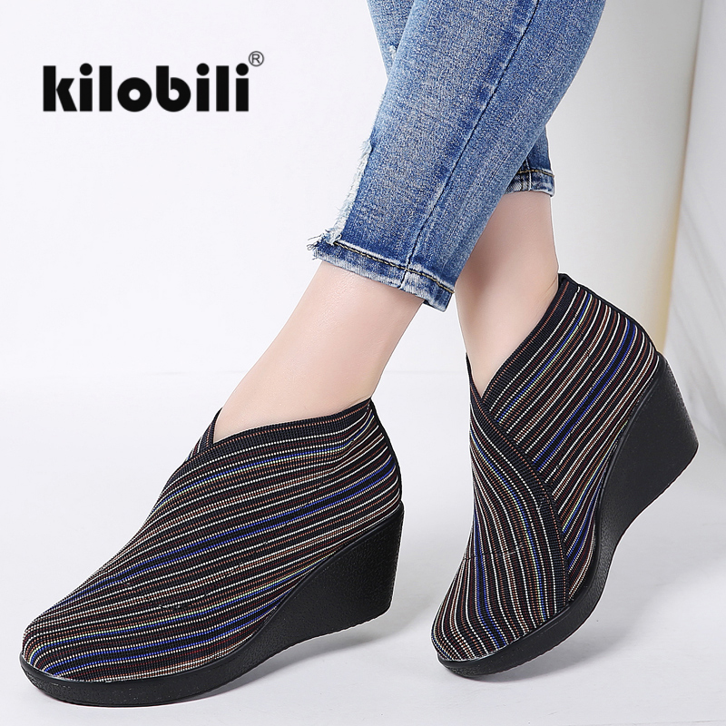 2018 Spring Women Flat Platform shoes slip on Striped Stretch Fabric Casual Shoes ladies Creepers Wedge
