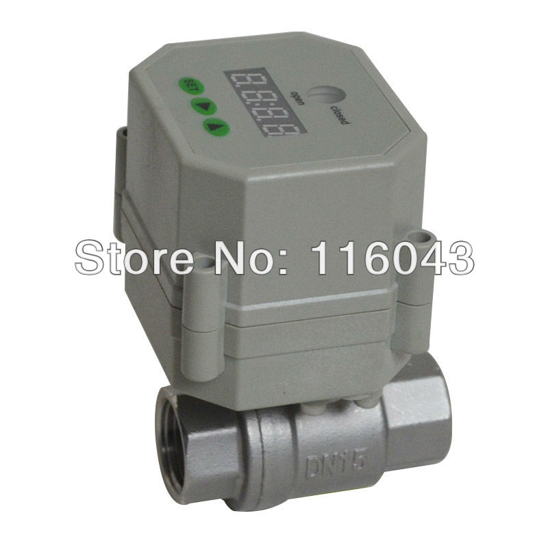 AC/DC9-24V 1/2'' motorized time valve BSP/NPT 1/2'' SS304 for garden air compressor Drain water air pump water control 3 4 brass time control electric valve ac110v 230v bsp npt can be selected for garden water irrigation drain water air pump
