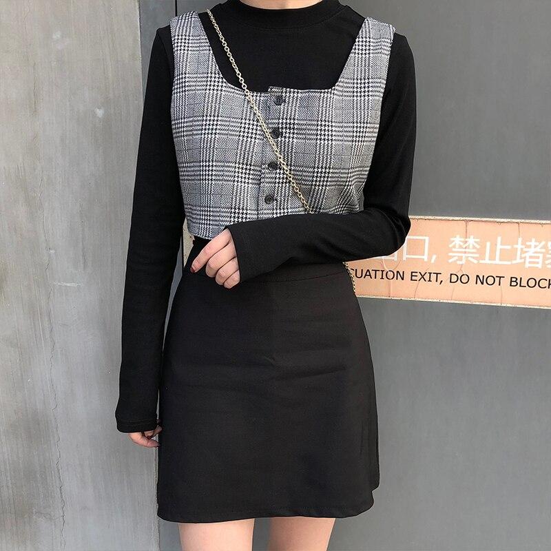 2019 spring new 3 pcs set women long sleeve t shirt+plaid vest+mini skirts womens clothing set (X234)
