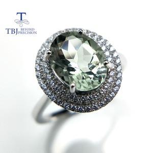 Image 2 - Женское кольцо с аметистом TBJ, Ювелирное Украшение с драгоценным камнем зеленого цвета, в оправе из серебра 100% пробы, для дня рождения