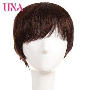 UNA короткие волосы Remy парики 120% плотность перуанские прямые машинные парики 6