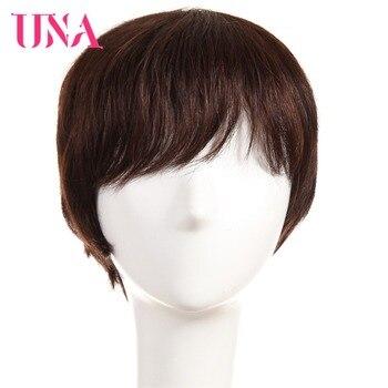 UNA Short Remy Human Hair Wigs 120% Density Peruvian Straight Machine Wigs  6 #1 #1B #2 #4 #27 #30 #33 #350 #BURG #99J una straight remy indian human hair wigs for women 120% density color 1 1b 2 4 27 30 33 99j bug 350 2 33 6222a