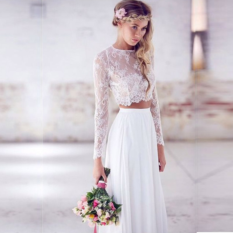 Lace simple beach wedding dress 2 piece long sleeve white for Long sleeve chiffon wedding dress