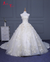Jark Tozr Newest Strapless Lace Up Gorgeous Wedding Gowns 2017 Robe De Mariee Appliques Beading Honorable Flowers Bridal Dress