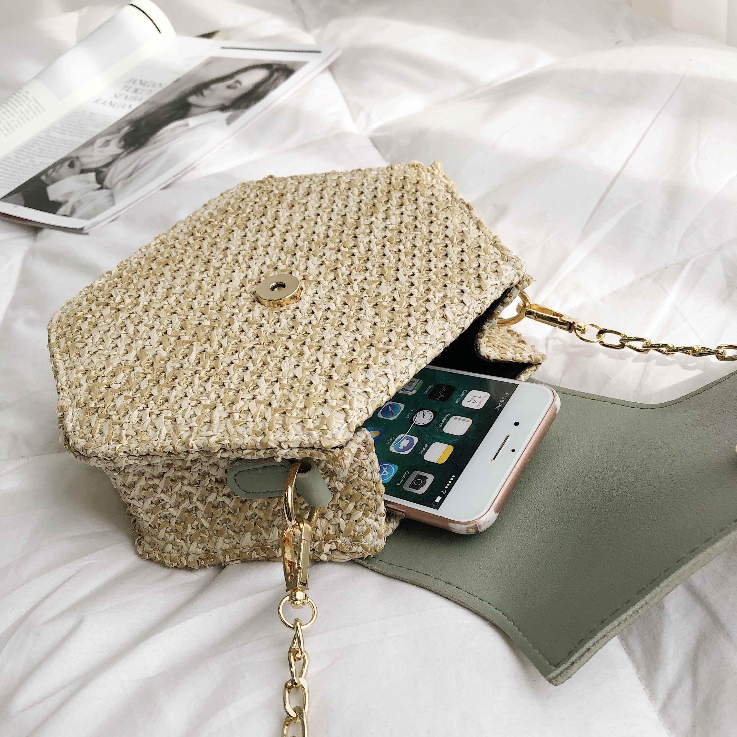 משושה Mulit סגנון קש + עור תיק נשים קיץ קש תיק בעבודת יד ארוג חוף בוהמה המעגל כתף תיק חדש אופנה