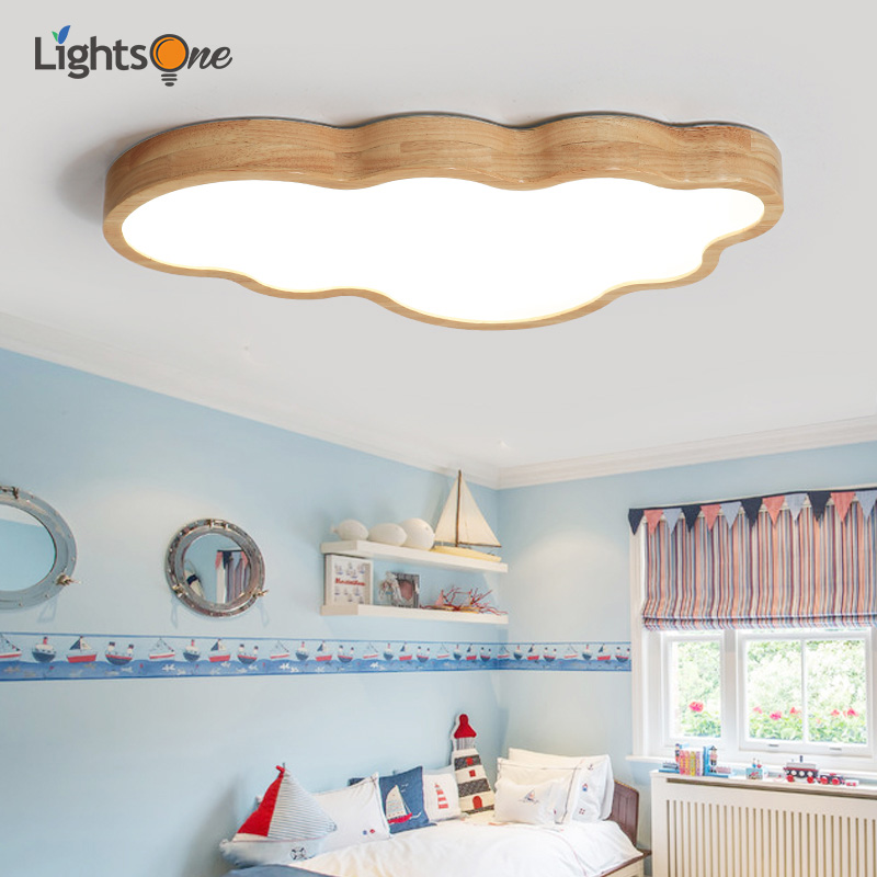 Nordic Log Japanese Ceiling Light Children s Room Thin Cloud wood Ceiling Lamp