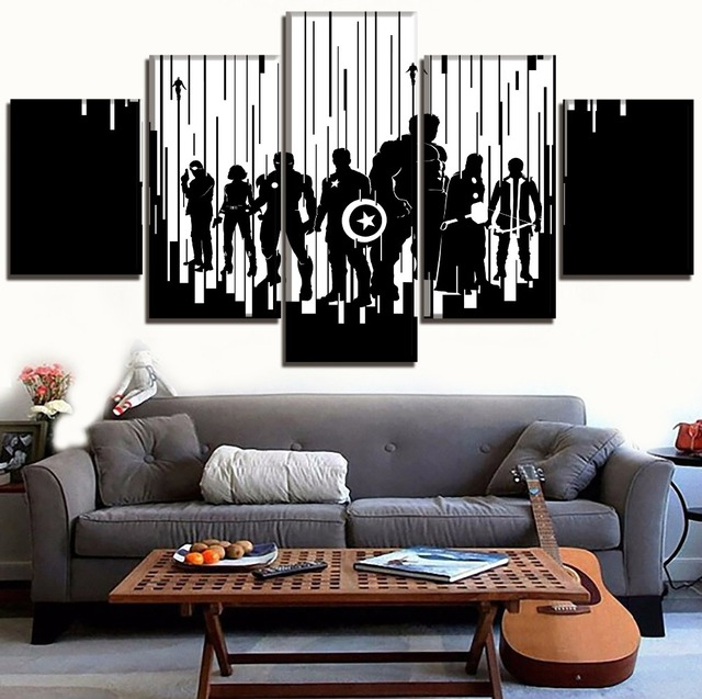 Home Decor Black And White Canvas Art Poster Print Painting 5 Piece Movie Avengers 2 Age Of Ultron Abstract Shadow Role Picture