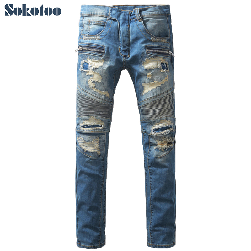 Sokotoo Men's fashion hole ripped biker jeans Casual patch patchwork denim pants Long trousers sokotoo men s casual vintage light blue hole ripped biker jeans male fashion slim denim pants straight long trousers