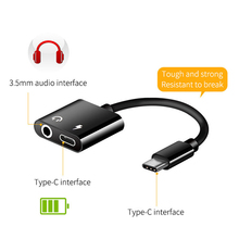 2 in 1 Type C Adapter USB Type-C to 3.5mm Jack Audio Charge Converter Adapter Cable