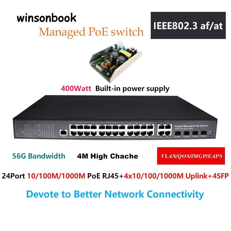 24 коммутатор переключатель Ethernet управляемый переключатель POE 48V с 4x1000 м Uplink 4 гигабитный SFP управляемый коммутатор PoE-in Сетевые коммутаторы from Компьютер и офис