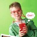 10 Pçs/lote Engraçado Óculos Malucos Palha DIY Palha Criativas das Crianças Divertimento Dos Desenhos Animados Brinquedos Gadgets Utensílios Domésticos Copos Crianças Brinquedos