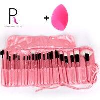 Professionelle 24 stücke Make-Up Pinsel Set + Tasche Rosa Schwarz Kit Pinceis Pincel Maquiagem Brochas Pinceaux Maquillage