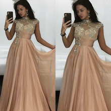 prom dresses 2019 high neck crystal beading a line tulle champagne evening beaded