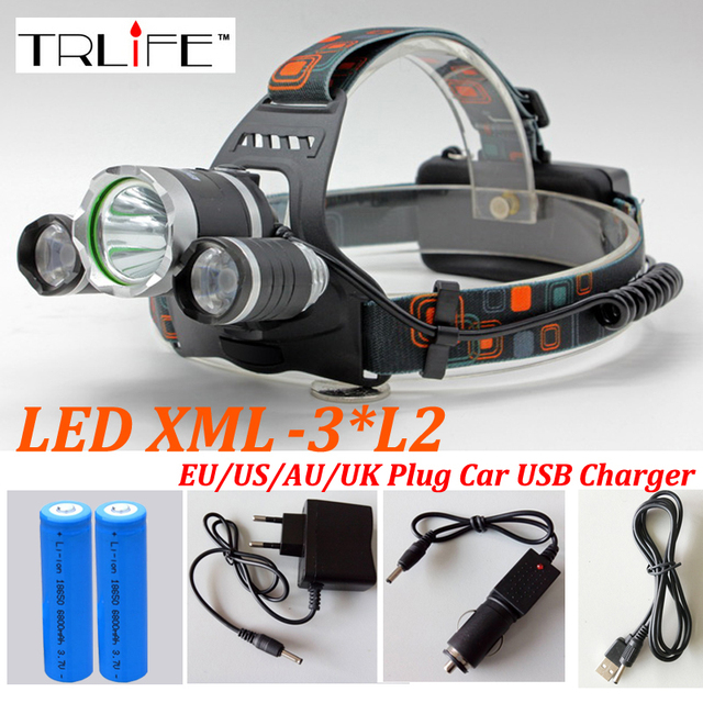 New Headlamp 9000 Lumens 3x CREE XM-L2 LED High Power Headlight Light Lamp Rechargeable +2*18650 battery + AC /USB /Car Charger