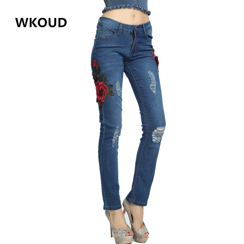 WKOUD Jeans With Embroidery Flowers Decorate Ripped Holes Elastic Blue Denim Pants Women's Skinny Pencil Pants Trousers P8045