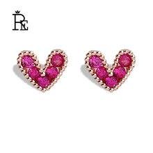 New s925 silver pin love pearl heart mini stud earrings girls small crystal earings women accessories jewelry S45