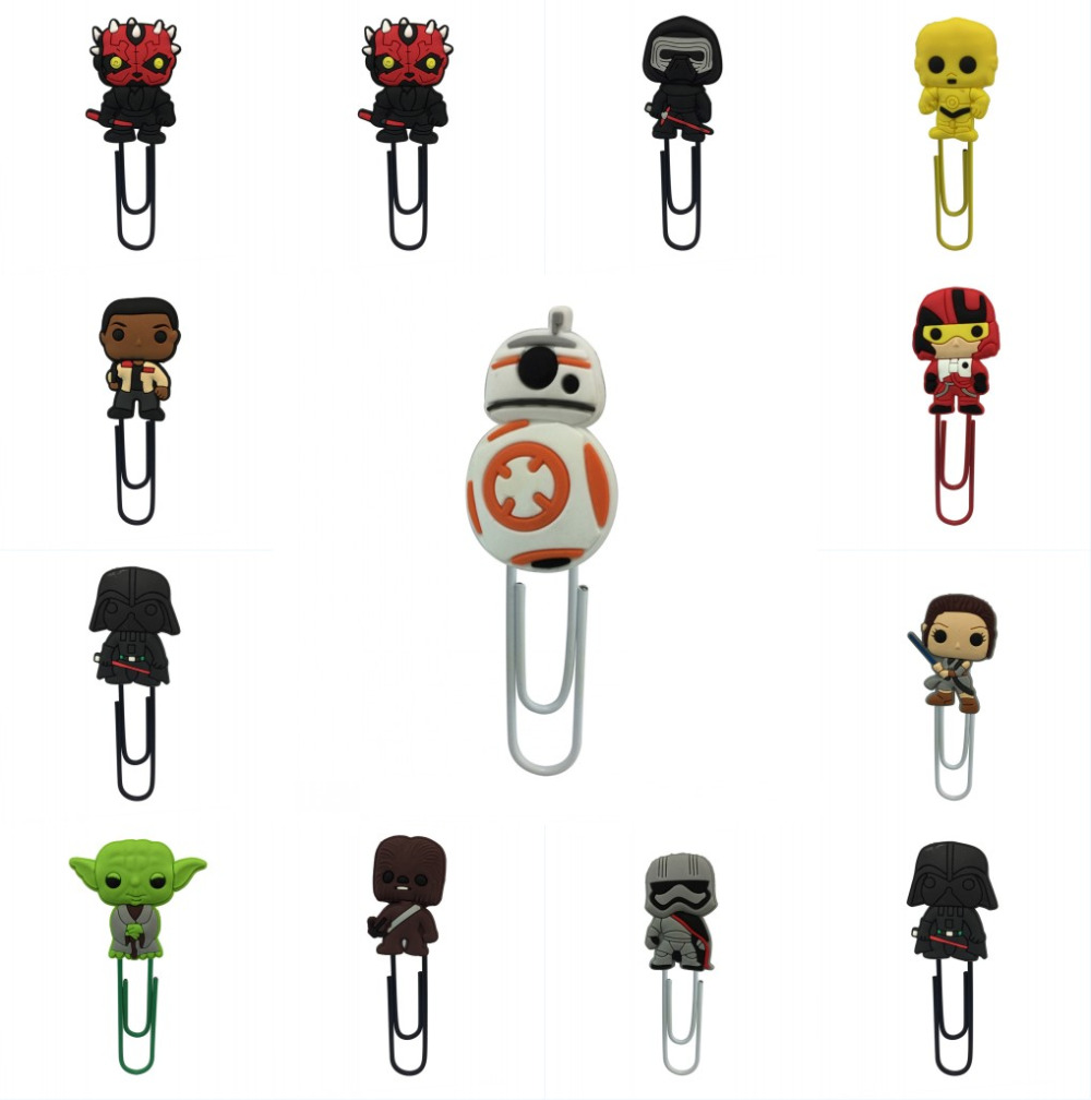 1Pcs Cartoon Star Wars Figures Bookmark Paper Clip Pens Holder School Supplies DIY Decoration For Kids Gifts