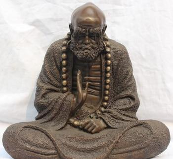 "Coleccionable de bronce S2085 13 ""China Chino Pure Bronze Arhat Asiento Damo Bodhidharma Dharma de Buda Estatua"