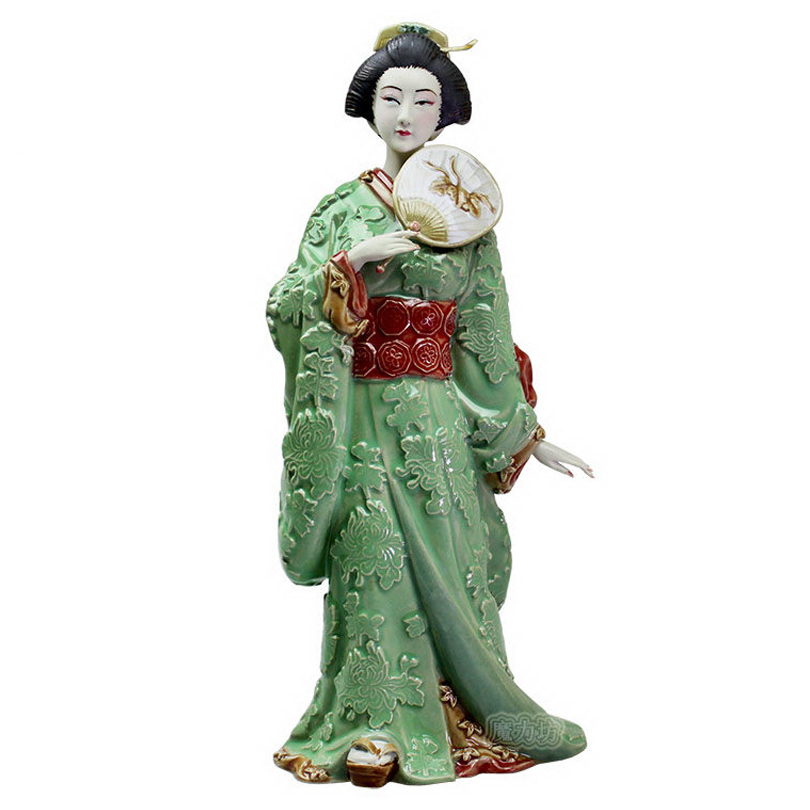 Ceramic Japanes Geisha Female Statues Collectibles Laddy Sculptures Glazed Dolls Figurine Christmas Kimono for Home Decor Figure