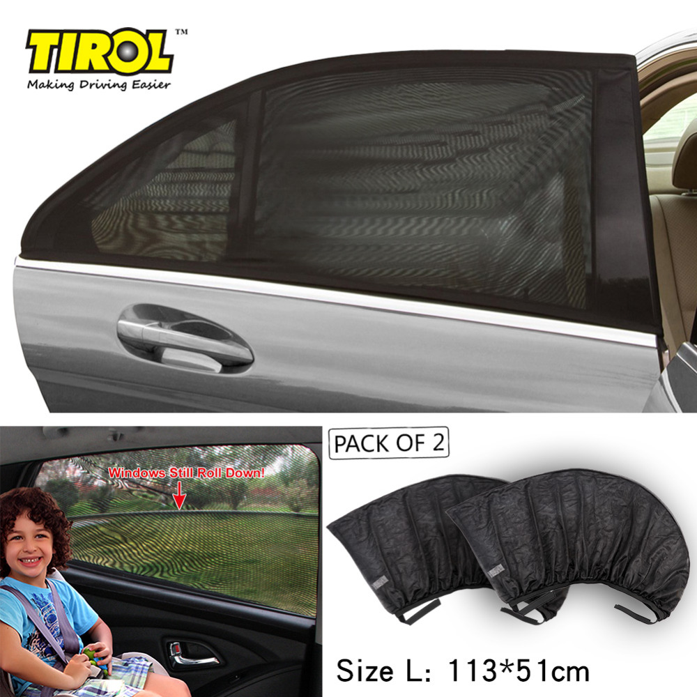 TIROL T11724d 2PC Mesh UV Protection Universal Car Window Rear DoorSide Sunshades Travel Baby Wholesale Size L 113*51cm