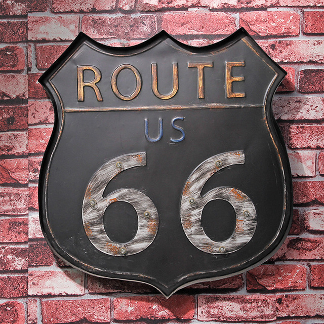 Route 66 Led Metal Sign Neon Light Open Signs Retro Bar Club Wall Decor Hanging