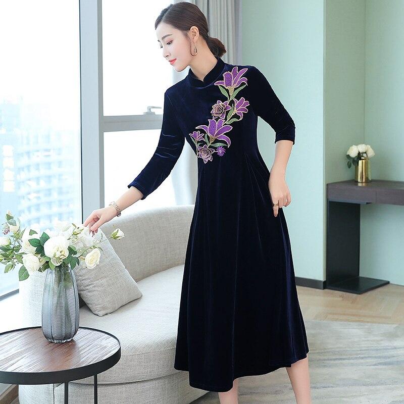 3b0cbcd2829e8 Black Velvet dress women plus size long sleeve vintage Chinese winter  autumn robe elegant dresses embroidery floral midi clothes
