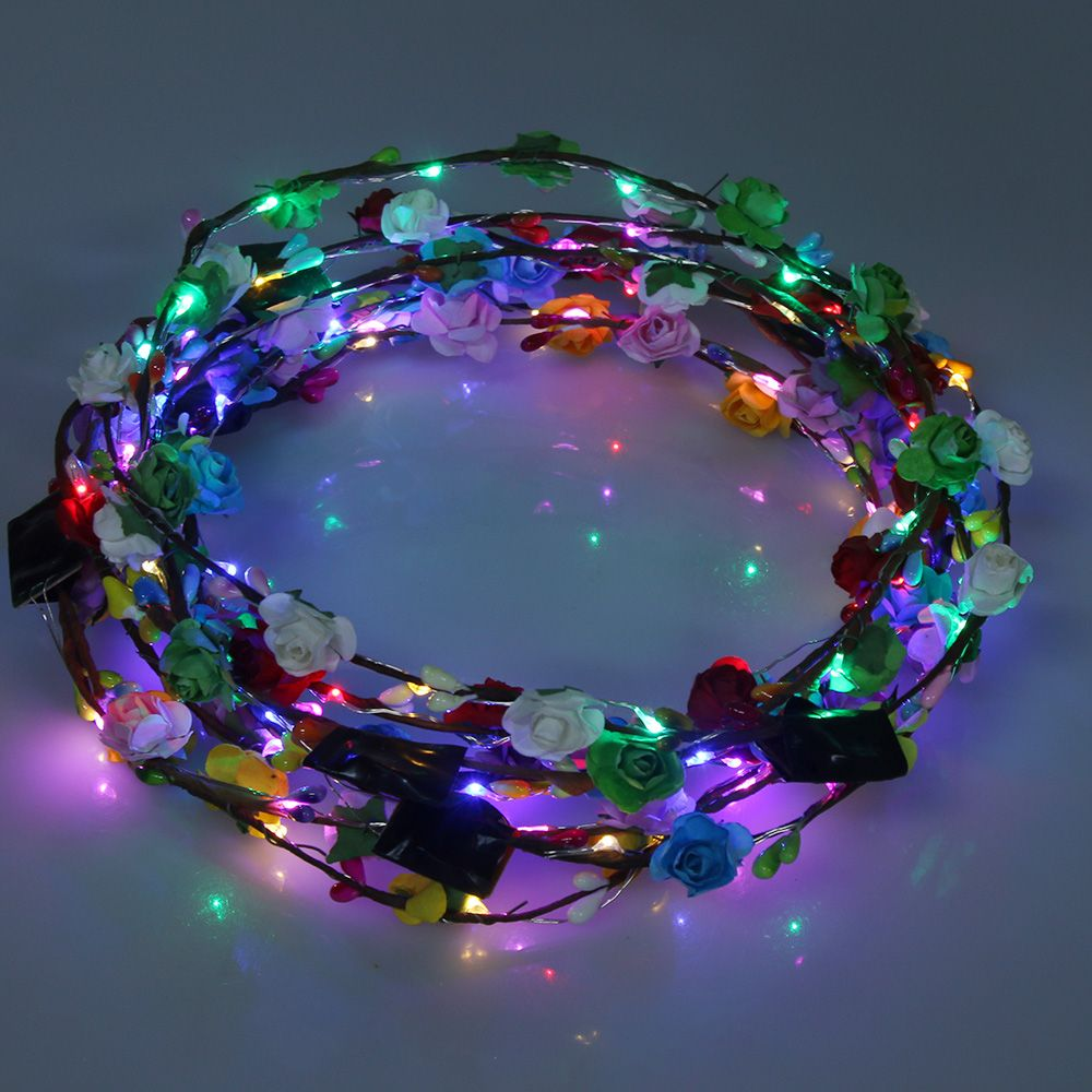 LED Light Flower Bright Hair Band Headband Garland Crown Bride Wedding Party headbands   headwear   2018 hot sale 8 colors