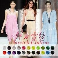 125-138cm wide 10-16m/m Solid color silk elastic chiffon material fabric summer dress diy clothes elegant cloth Free shipping
