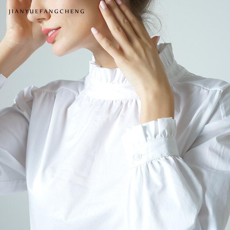 Femmes Blouse blanc coton à manches longues chemise Stand froissé col dos Zip grande taille élégant printemps été bureau dames hauts