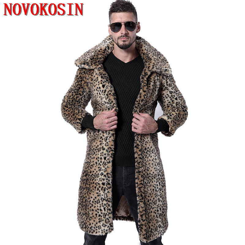 SC270 Winter Warm Plus Size Open Stitch Leopard Plush Coat 2018 Men Faux Fox Fur Turn-down Collar Cardigan Thick Long   Trench