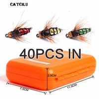 40PCS Isca Artificial Cicada Dry Flies Fly Fishing Flies Baits for Pike Carp Winter Pesca Tackle/Box