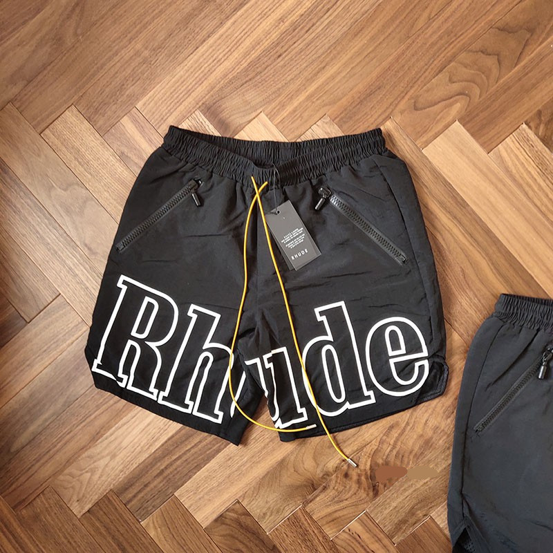 RHUDE Rh Logo Swim Trunk 2019 New Arrival Men Loose RHUDE Print Shorts Self Nylon LINING Polyester Mesh Drawstring Zipper Short