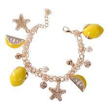 a1708be308f4 PINKSEE nueva llegada Starfish colgante fruta limón OL estilo pulsera para  las mujeres aniversario playa verano