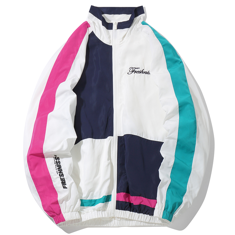 2019 SS Outwear Spring Hit Color Patchwork Thin Jacket Coat Hip Hop Color Block Letter Embroidery Zip Track Jacket No Hooded