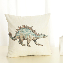Dinosaur pattern Cushion Cover Linen Pillow Cover Invisible Zipper Polyester Square Pillow case 45x45cm