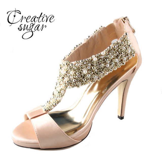 4dd59b0cb1c98 Handmade champagne color T - strap satin sandals with sewed pearl and beads  platform heels zip back wedding evening party shoes