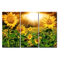 Canvas Print Wall Art Painting Home Decor Bright Sunflower Yellow Sunshine 3 Pieces Panel Paintings Modern