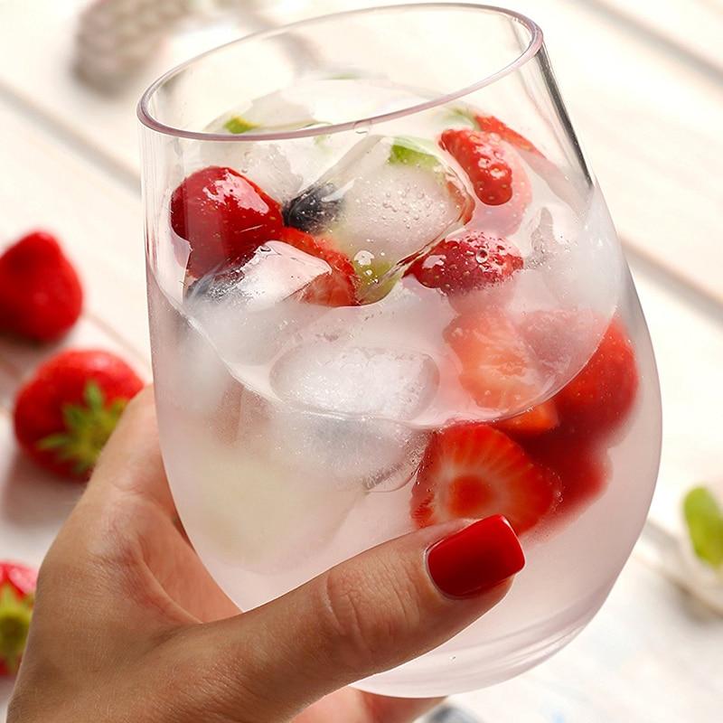1pcs Wine Glass Shatterproof Plastic Nbreakable PCTG Red Wine Tumbler Glasses Cups Reusable Transparent Fruit Juice Beer Cup