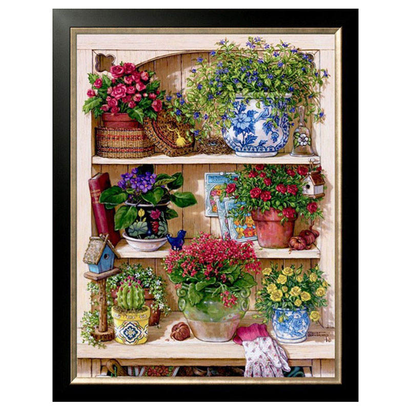 DIY DMC 14CT unprinted Cross stitch kits For Embroidery flower Counted Cross Stitching embroidered home decor