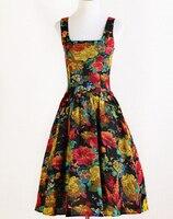 Großhandel 50er Ziemlich Drucken Rose Kleid Vintage Elegante Retro Hippie Einzigartige Rock N Roll Frauen Kleider mit 3 Farben
