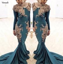 2019 New Muslim Long Sleeves Mermaid Satin Evening Dresses Lace Appliques Rhinestone Plus Size Prom Dress Custom