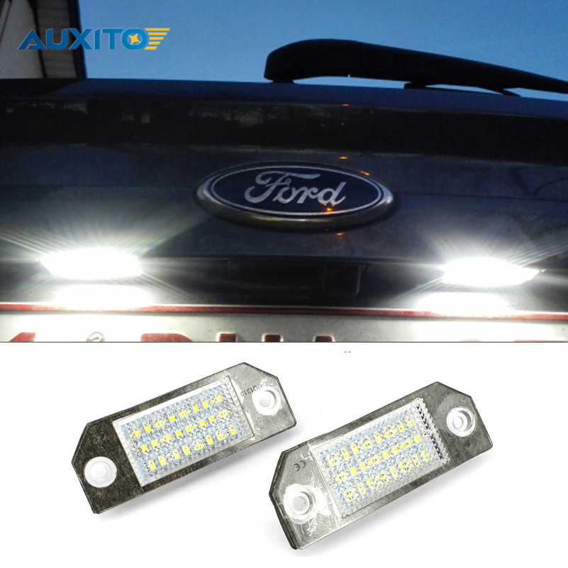 2PCS No Error LED Car License Plate Light SMD3528 24leds Number Plate Light For Ford Focus 2 MK2 C-Max C Max MK1 2x no error 18led smd3528 car led license plate lights for ford focus da3 dyb fiesta ja8 mondeo mk4 mk5 c max s max kuga galaxy