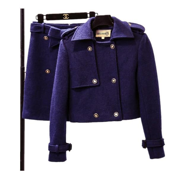 ea118ce11 US $46.39 20% OFF Zarachiel Winter Brand Clothing Navy Blue Ladies Elegant  Woolen Short Jacket Coat + Step Bodycon Bow Skirt 2pcs Suits Short Warm-in  ...
