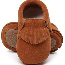 New hot sell genuine suede leather Baby moccasins shoes frin