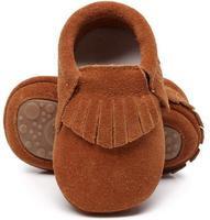 New Hot Sell Genuine Suede Leather Baby Moccasins Shoes Fringe Solid Hard Rubber Sole Baby Shoes