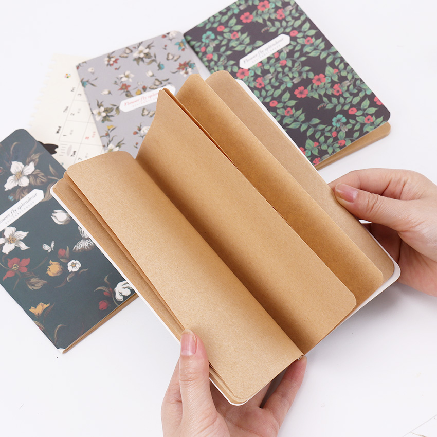 1PC Butterflies Flower Notebook Office Supplies Diary Book DIY Retro The Kraft Paper Blank Memo Pad Sketch Book Notepad muji style empty page blank kraft paper 100 pages notepad word study card portable memo pad loose leaf notes diy notepad