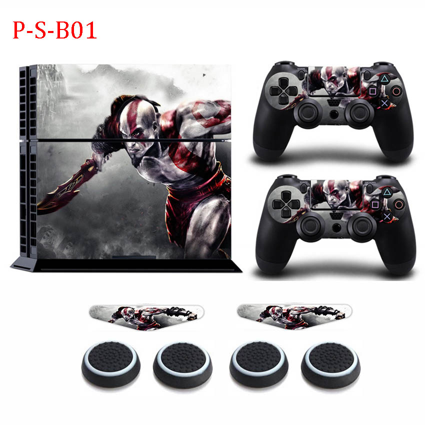 GOD OF WAR Vinyl Sticker Decal Stickers +2x LED Skins +4x Caps For Sony Playstation 4 PS4 Console Controller Protection Skin image
