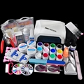 Nail Art Set 12 Colors UV Gel + 36W LED Curing Lamp  Manicure File Nail Art Tools Buffer Remover Fasle Nail Tips