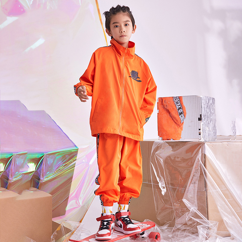 Hip Hop Costume Boys Orange White Coat Pants Jazz Suit Street Dance Clothes Kids Stage Performance Wear Rave Outfit DNV11172