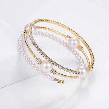 Crystal Pearl Rhinestone Multi-layer Adjustable Bracelet  3